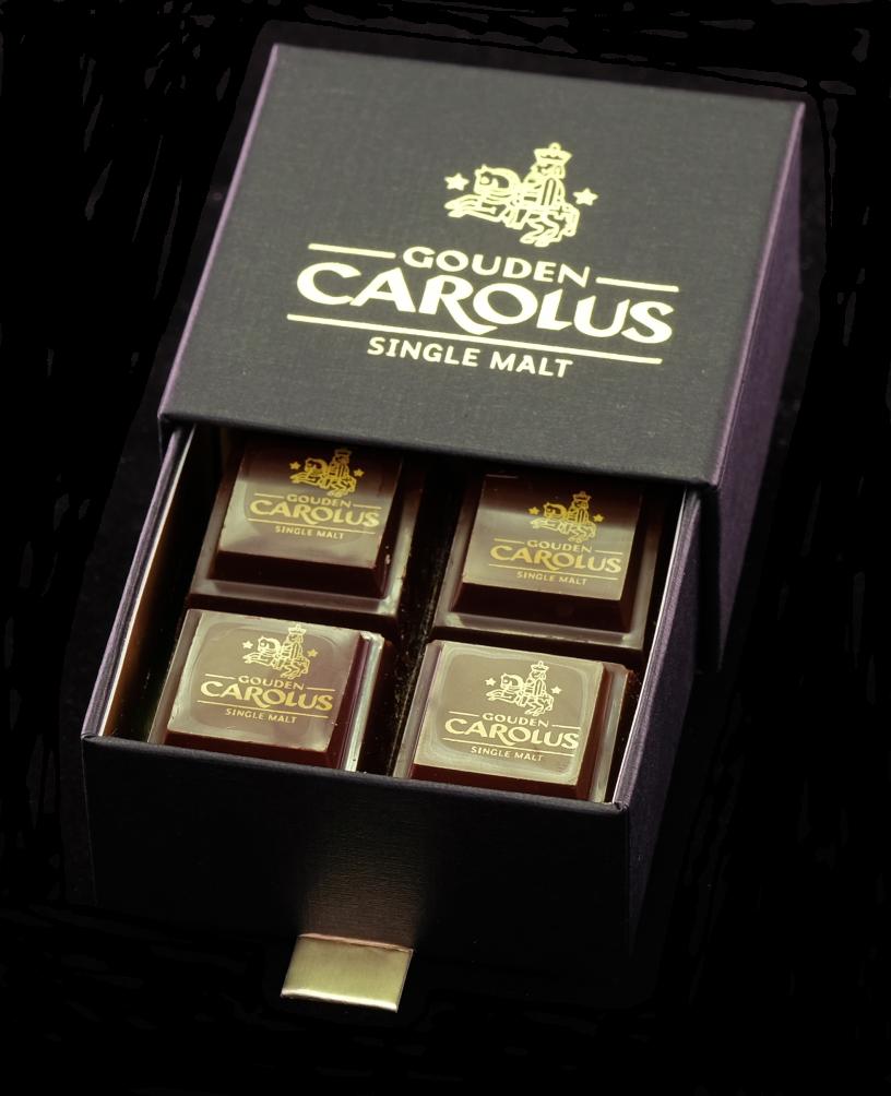 Gouden Carolus Single Malt Whiskypraline doosje verpakking transparant